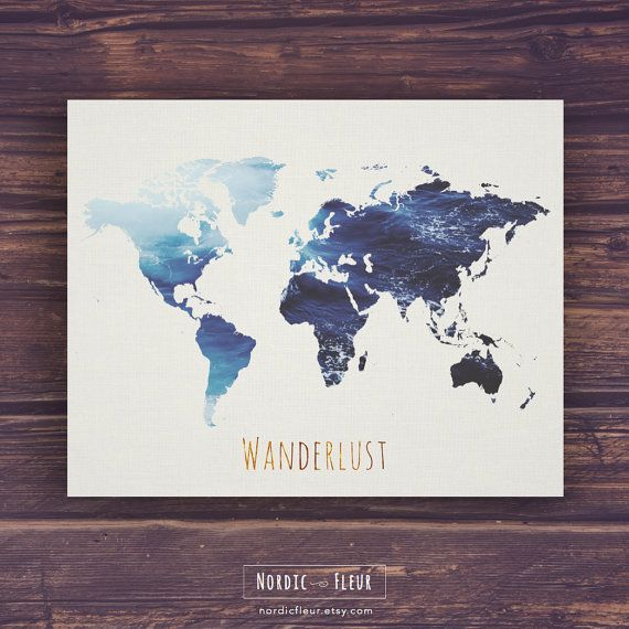 World map wall art wanderlust printable art world map print world map poster wanderlust world map decal world di nordicfleur gumiabroncs Image collections