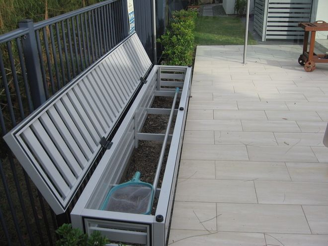 Pool Storage Ideas | Contemporary Landscape By Award Gates And Screens