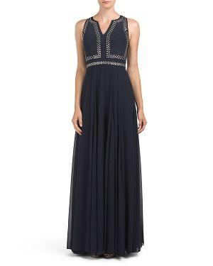 Silk Embellished Slit Neck Gown