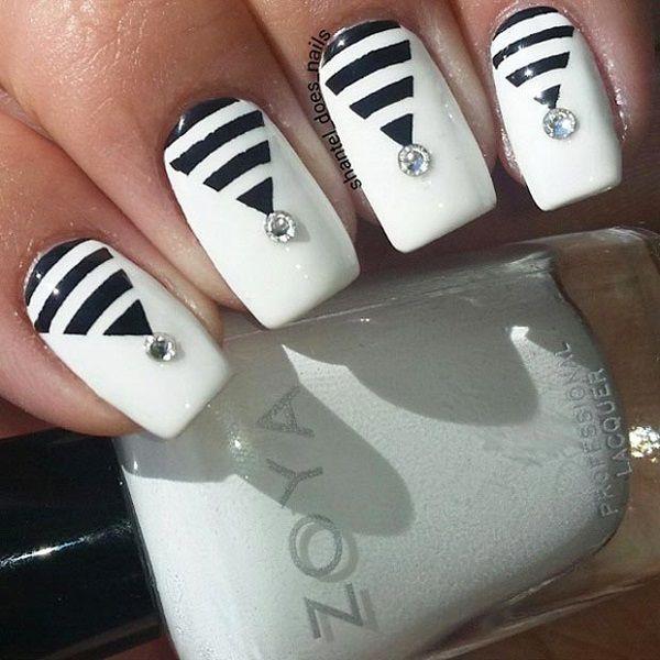 60 geometric nail art ideas triangle nail art geometric nail 60 geometric nail art ideas nail blackwhite prinsesfo Choice Image