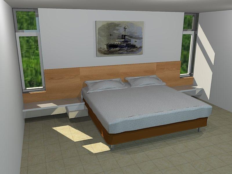 Diseño en 3D cama con espaldar de completo y nocheros incorporados ...