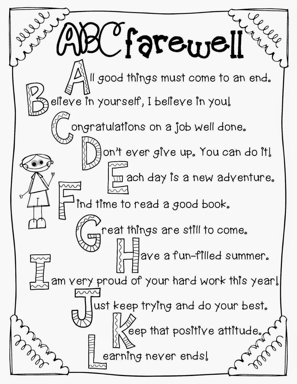 Clip art and abc farewell letter to students preschool