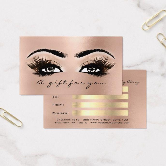 2f809471721 Gift Certificate Peach Rose Gold Lashes Makeup Custom office supplies # business #logo #branding