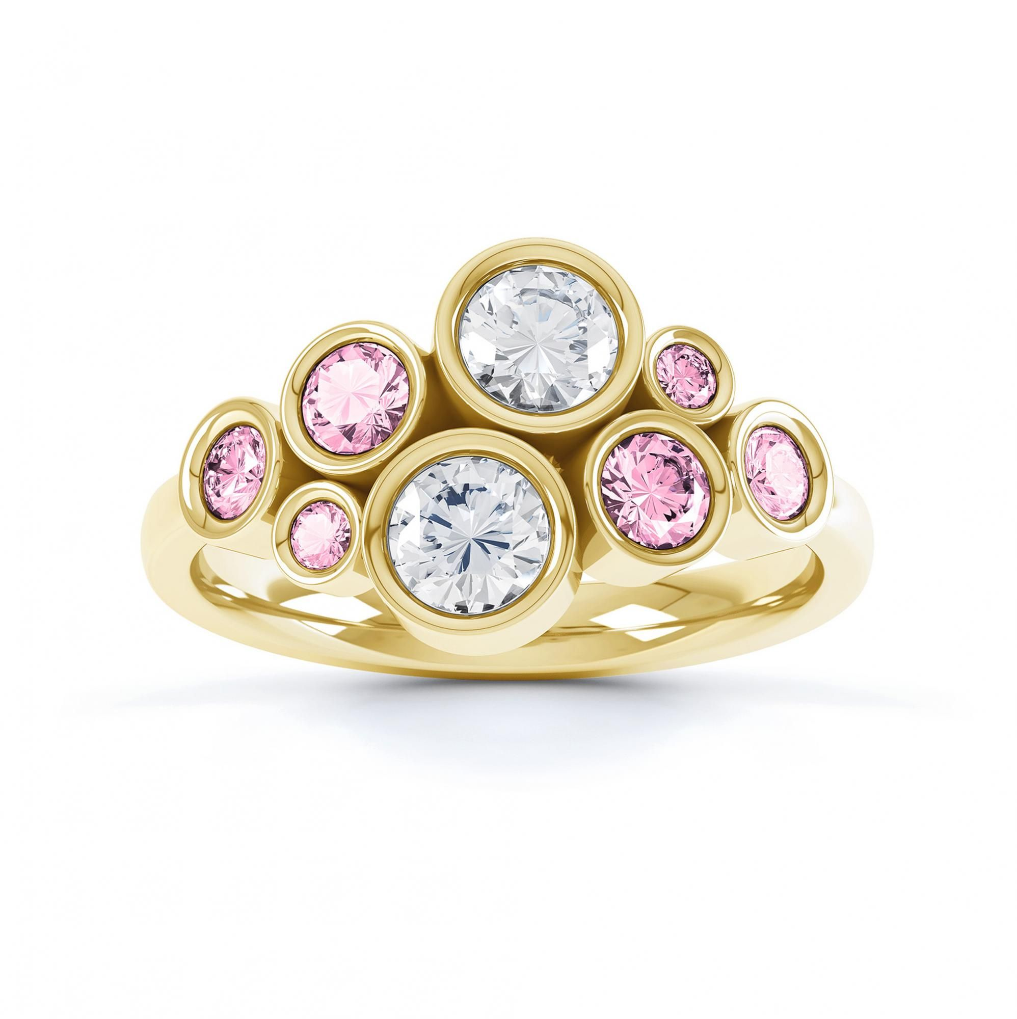 Pink sapphire and diamond bubble ring yellow gold top view Jewelry