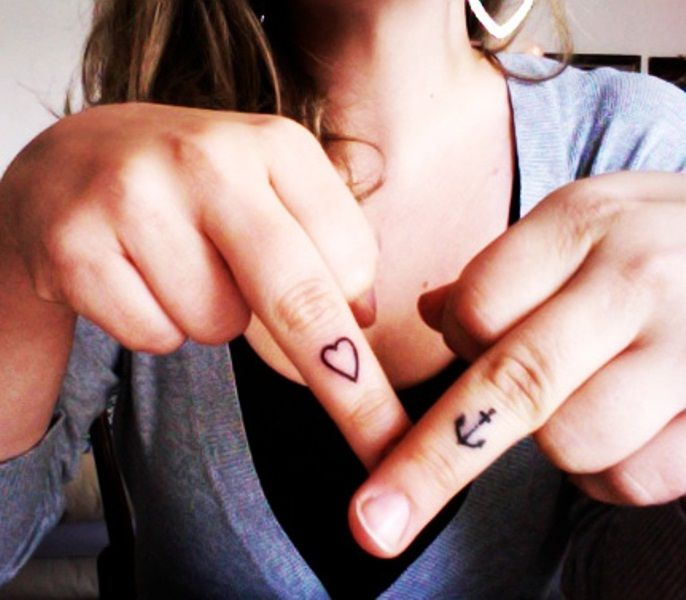 Heart And Anchor Tattoo Designs On Fingers Tattoos Finger