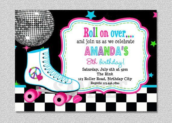 roller skating birthday invitation roller by thetrendybutterfly, Birthday invitations