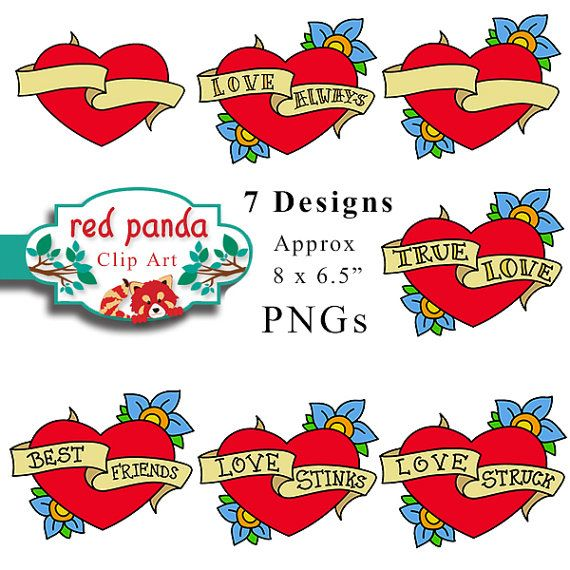 7 Old School Classic Tattoo Heart With Banner By Redpandadigital 5 99 Old School Tattoo Classic Tattoo Mandala Tattoo Design