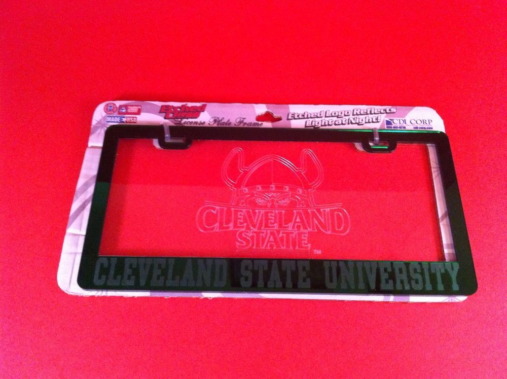CLEVELAND STATE UNIVERSITY LICENSE PLATE FRAME MIRROR ETCHED GLASS ...