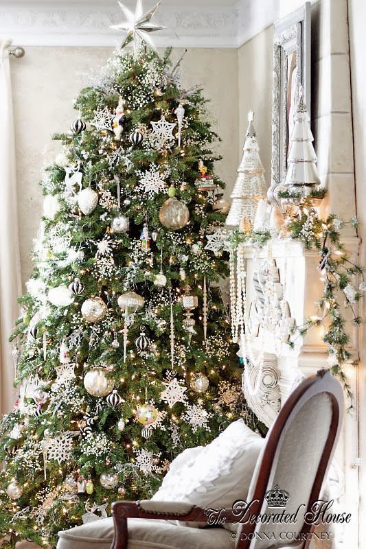 Christmas White And Silver With Mercury Glass Silver Christmas Christmas Tree Decorations Christmas Tree