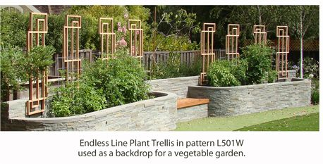 Endless Line Plant Trellis Used As Backdrop For Vegetable Garden.
