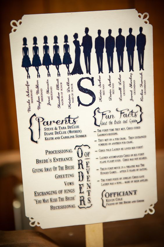 For the wedding day. Going to be outdoors, so a cute and practical way of doing a program!: