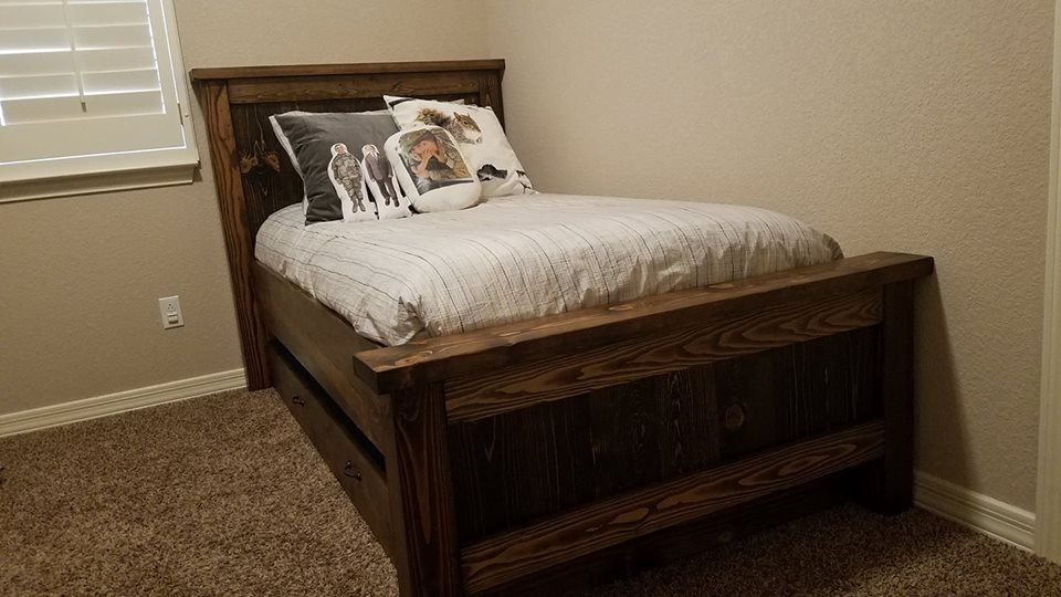 Ana white wood stained farmhouse bed with trundle diy