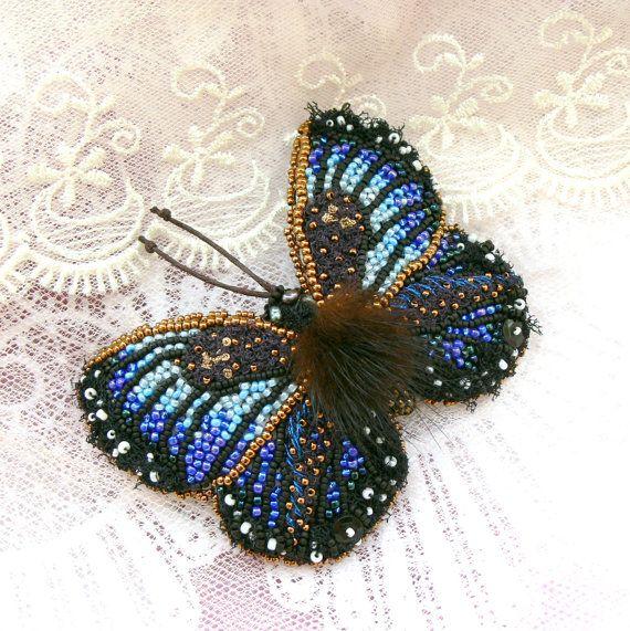 Butterfly brooch textile jewelry brooch blue bead by Eniya, $110.00
