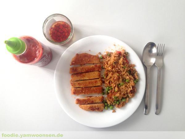 Schnitzel mit Curryreis