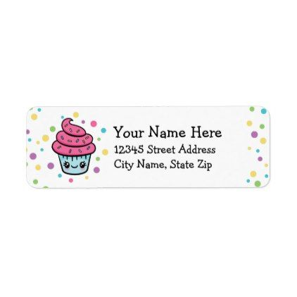 Happy Cupcake Return Address Labels