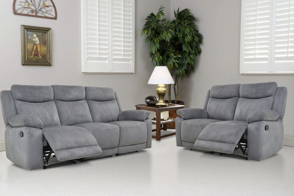 The Volo Grey Reclining Sofa And Loveseat Set By Levoluxe Will Make A Comfortable And St Sofa And Loveseat Set Modern Furniture Living Room Grey Reclining Sofa
