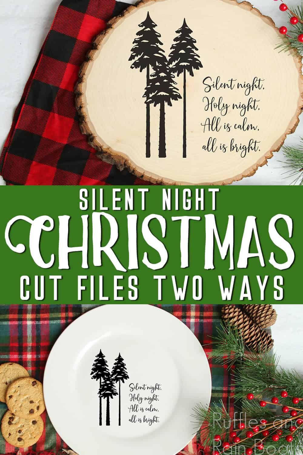 Silhouette Silent Night SVG for Christmas Crafts, Cards