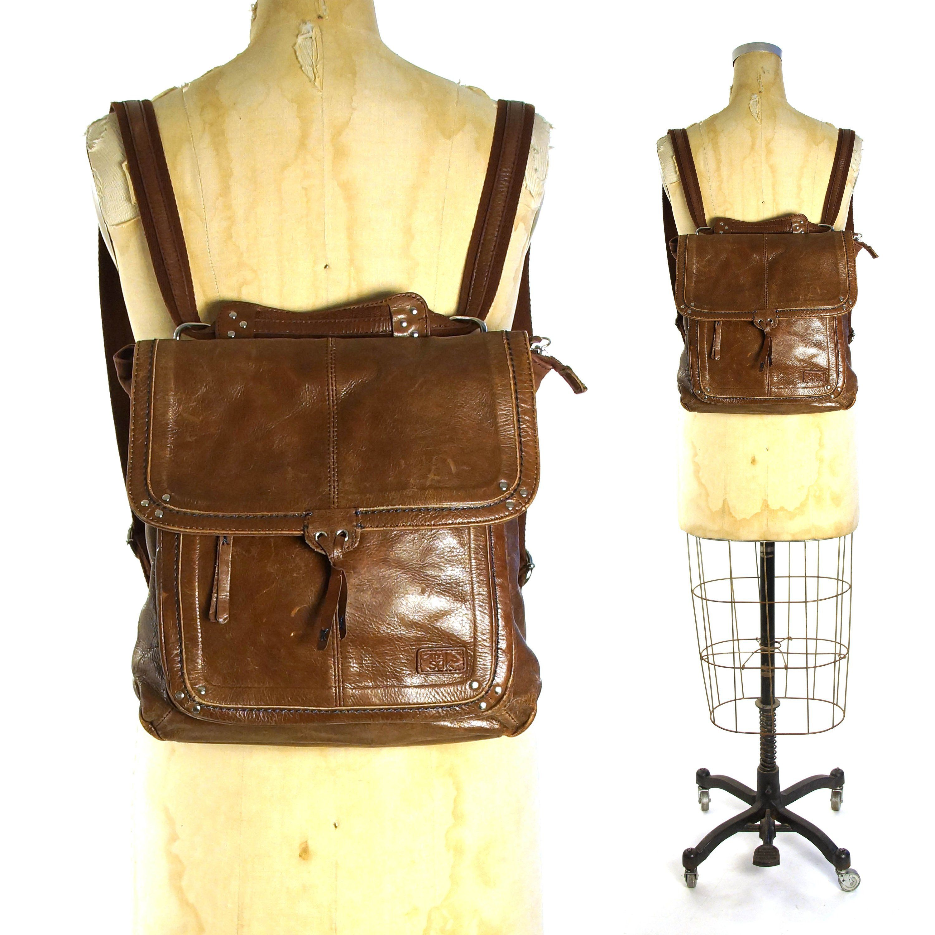 205251d61b33 ... Bags   Accessories by SPUNK Vintage. Brown Leather Backpack Vintage 90s  Medium Size Convertible Crossbody Purse to Rucksack by The SAK Boho