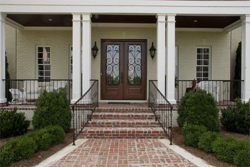 Extraordinary Brick Front Porch Steps as Amazing Exterior Ideas  Appealing Brick Front Porch Steps With Iron Railing White Patio Chairs White Windows ... & Entry Porch Columns Design Pictures Remodel Decor and Ideas ...