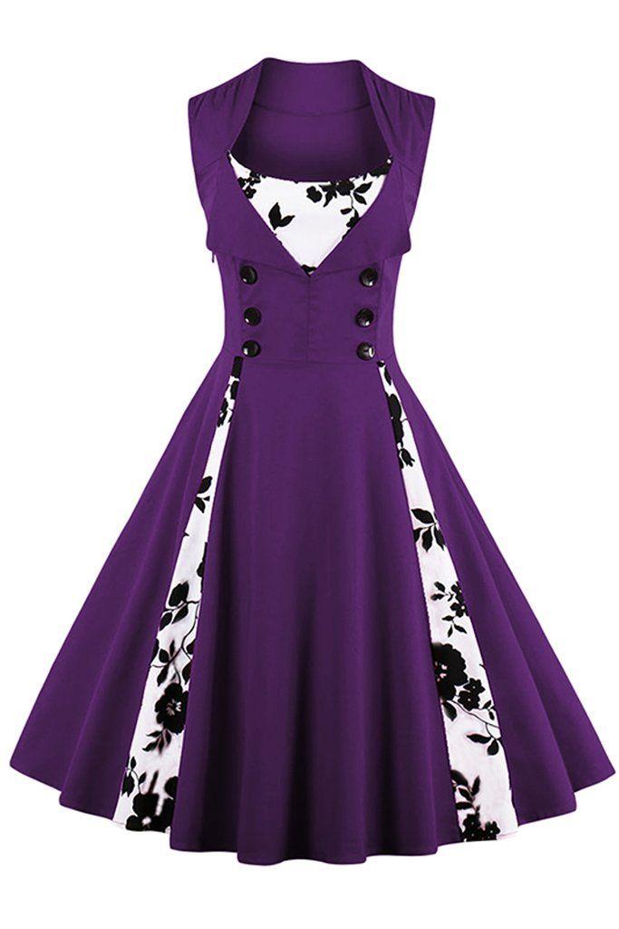 Atomic Purple Buttoned Floral Cocktail Dress