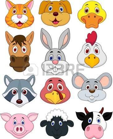 Animal Head Cartoon Set Photo Animal Crafts For Kids Animal Heads Cartoon Animals
