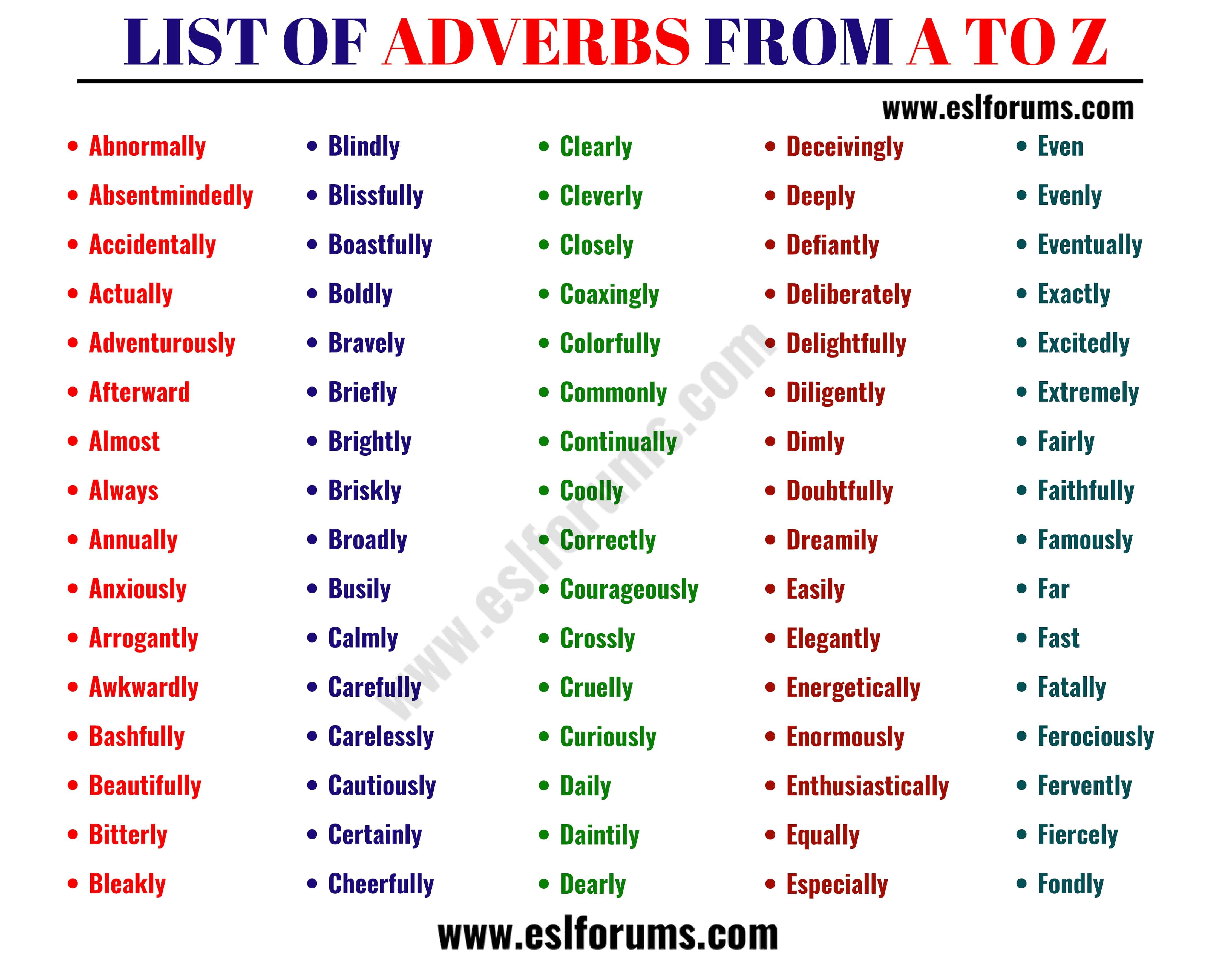List Of Adverbs A Full Adverbs List In English
