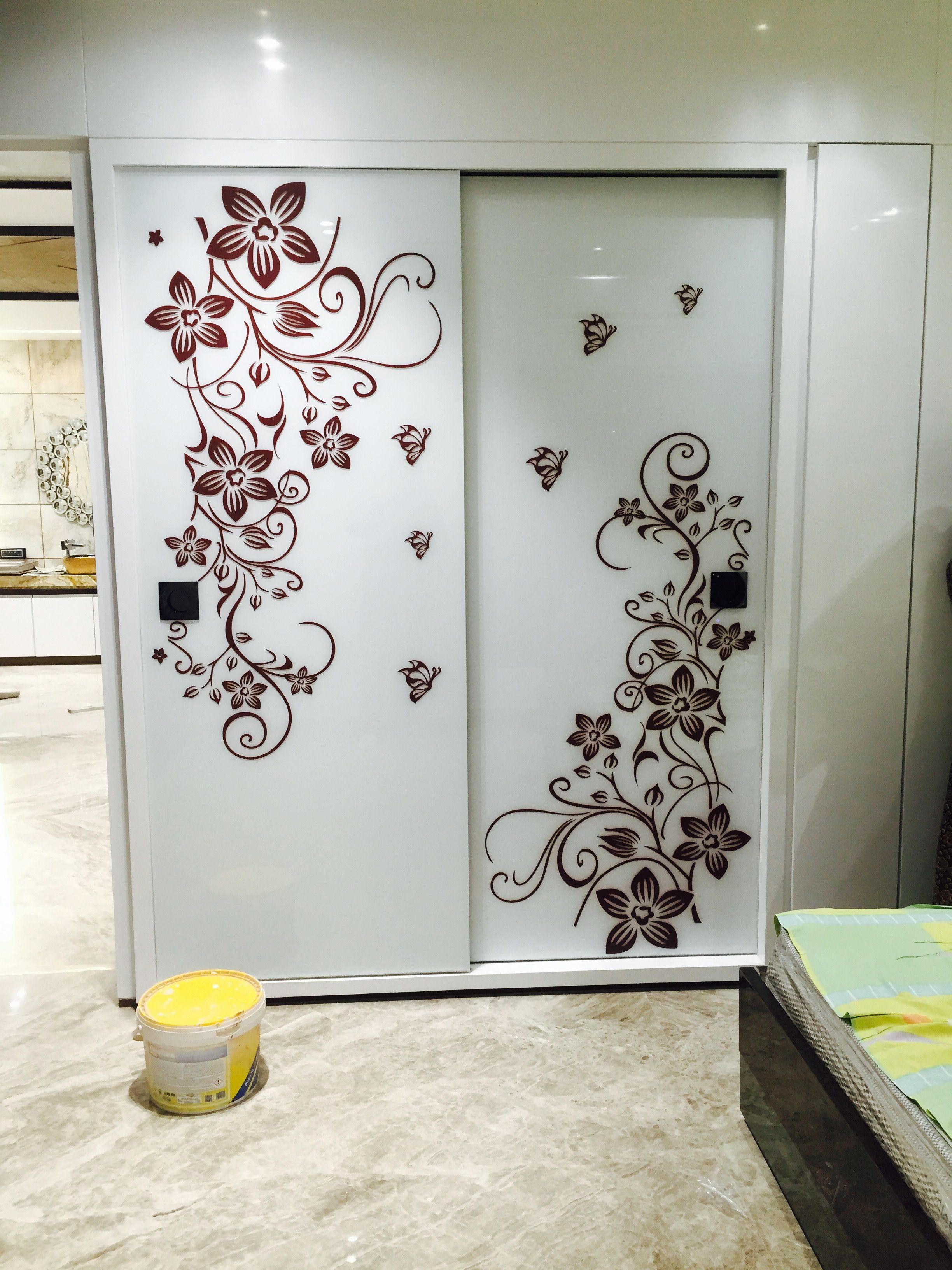 Vinyl wall art Bedroom cupboard designs, Door glass