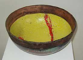 Red Road, raku ceramic, Catriona McLeod  15 ins diameter