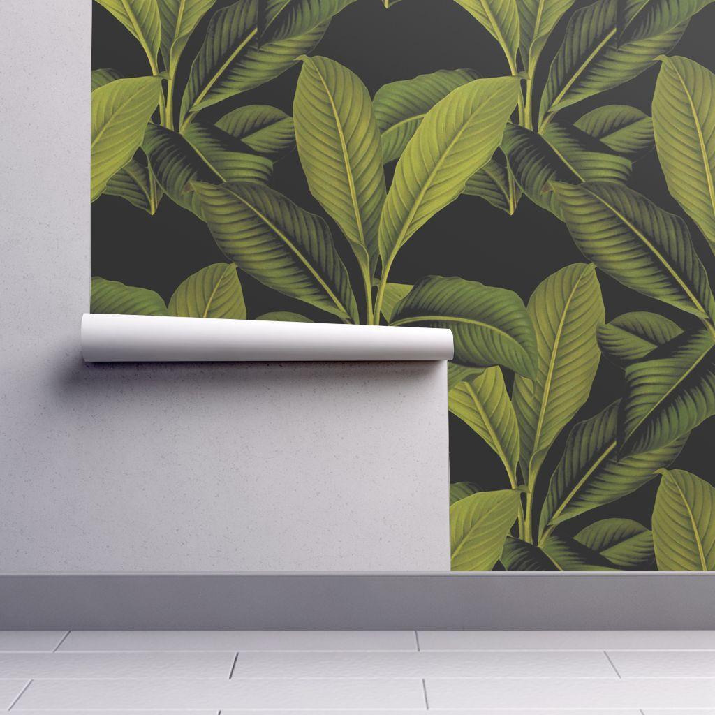 Palm In Palm Black Black Wallpaper Wallpaper Peel And Stick Wallpaper