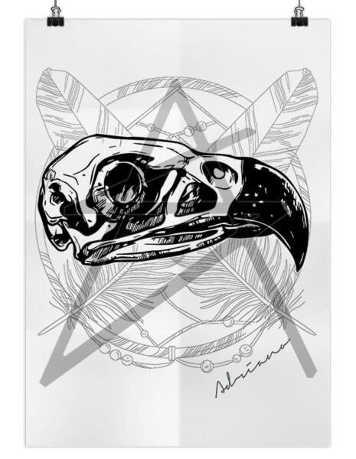 dd0de2a5d7 Camiseta Artseries Raglan Manga Curta Caveira Corvo Crow Branco ...