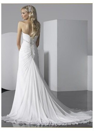 Attrayant Wonderful Lace Up Back Bridal Wedding Dress Empire Strapless