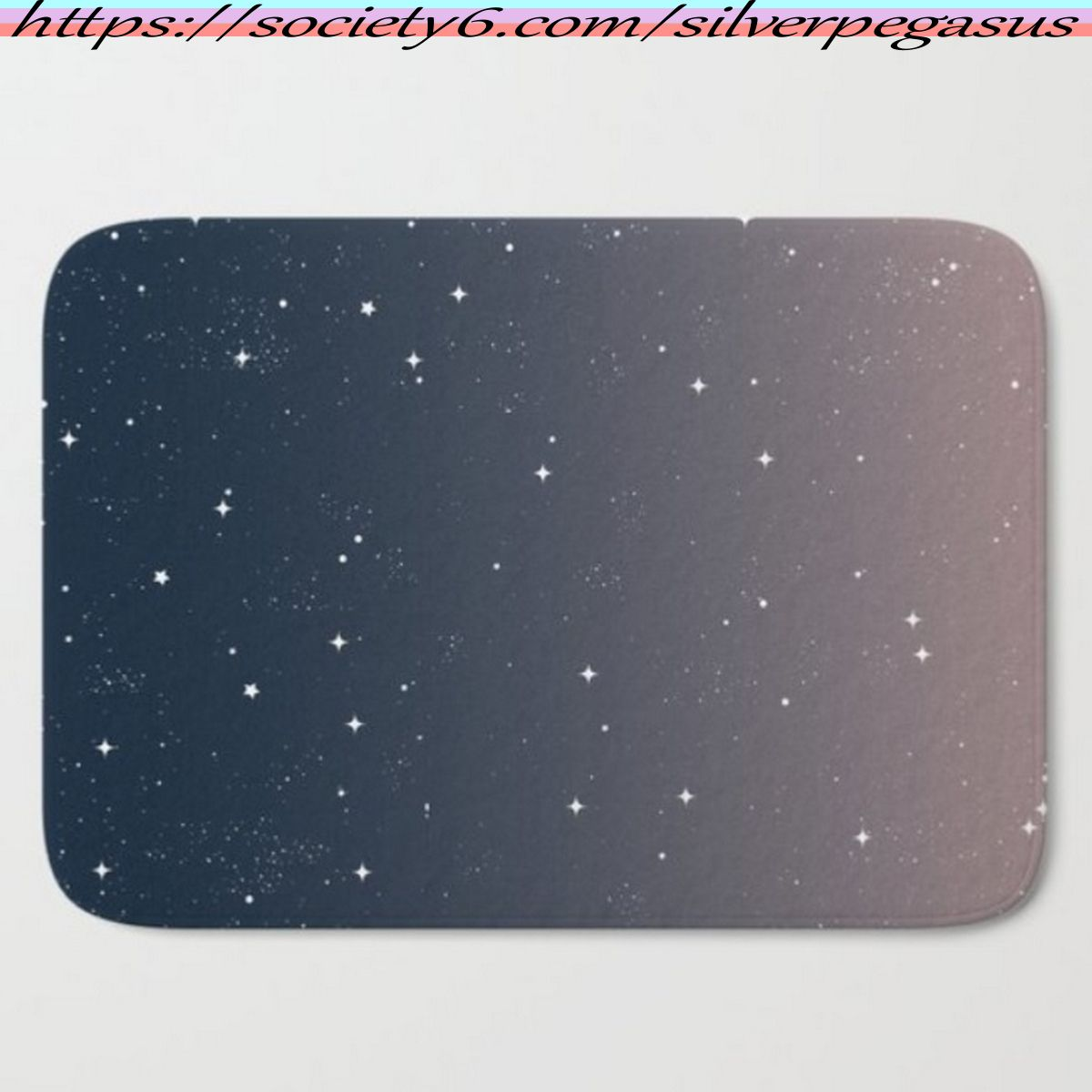Shop for Keep On Shining - Peaceful Dusk Bath Mat by © SilverPegasus / Stunning abstract night sky in a navy blue and pink gradient with small sparkling stars / bathroom decor, home decor, interior design, dorm decor, apartment decor, starry sky, starry night, space, galaxy, stardust, ombré decor, ombré bath mat, navy decor, trendy bath mat, trendy decor / Buy bath mats / Shop for bathroom decor / #bathmat #bathroomdecor #homedecor #interiordesign #nightsky #stars #ombrédecor #trendy #society6