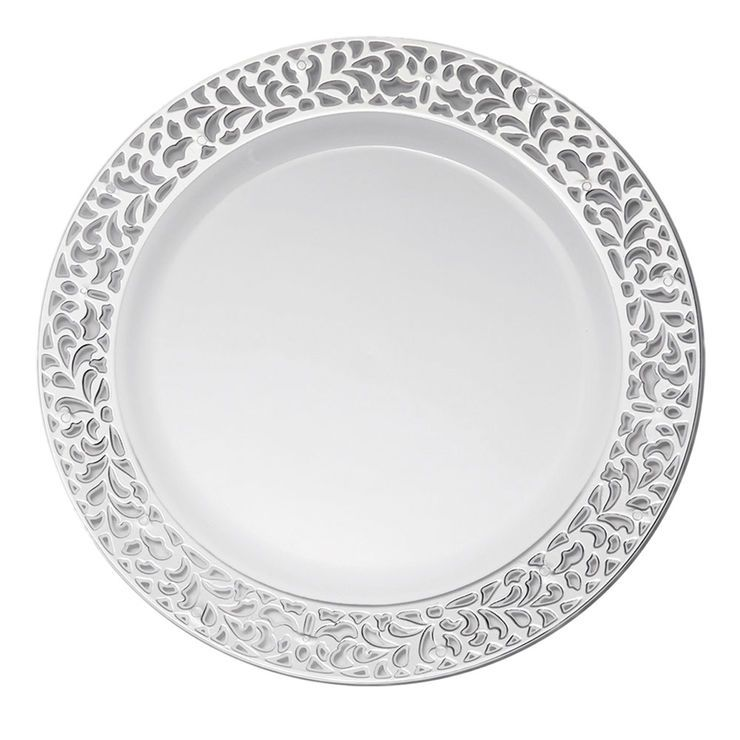 White Dinner Plates With Silver Pierced Detail 7 5 In Set Of 10 White Dinner Plates Dinner Plates Dishware Sets