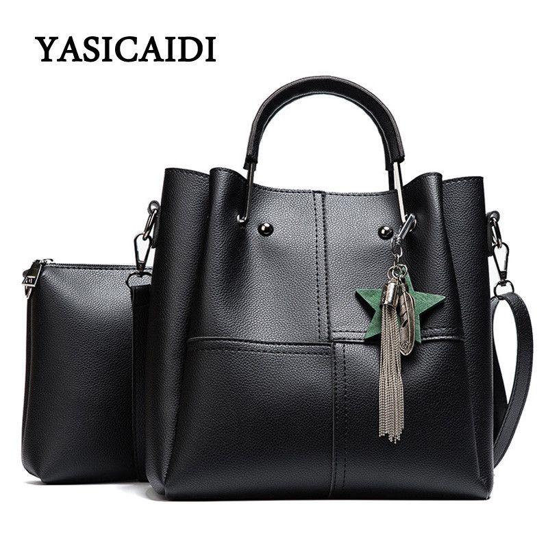 52a1e82191 New Casual Tassel Women Bag PU Leather Composite Bags Famous Brand Ladies  large Capacity With Messenger Bags Bolsa Feminina