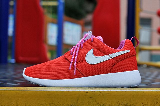 Authentic Nike Shoes For Sale Kids Nike Roshe Run Mesh Sport Red White Pink