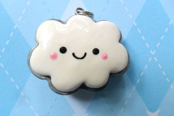 Kawaii Clay Charm Two Sided Cloud - JollyCharms