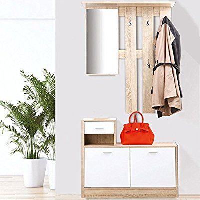 IDMarket - Meuble vestiaire d\u0027entrée décor hêtre portes blanches