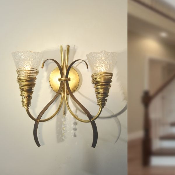 MASCA Wall bracket 2 lights  Cod: 1818/A2  Two lights hand-forged iron wall light with Murano glass.