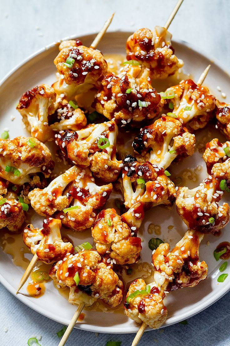 Grilled General Tso's Cauliflower Kabobs