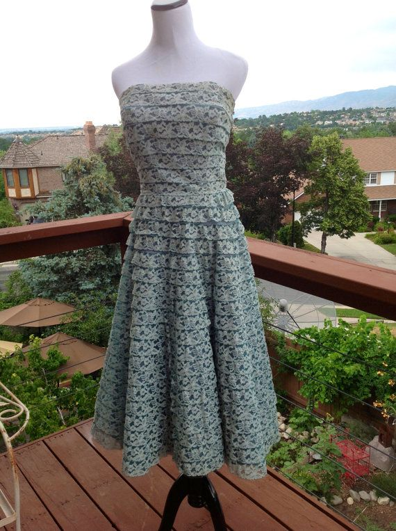 Vintage 1950's DRESS Turquoise Lace Tulle by ORANGEBARN9 on Etsy, $75.00