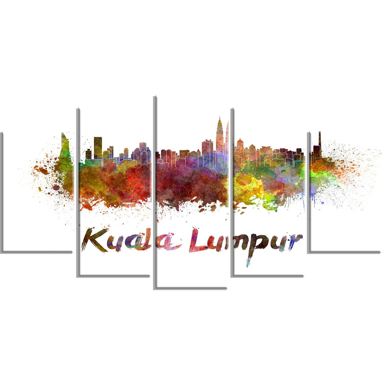 Kuala Lumpur Skyline Cityscape 5 Piece Graphic Art on Wrapped Canvas Set
