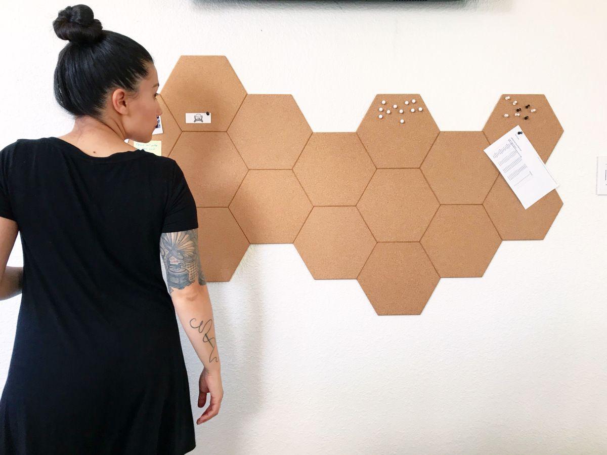 Diy Hexagon Cork Tile Bulletin Board Cork Tiles Cork Board Wall Cork Board Tiles