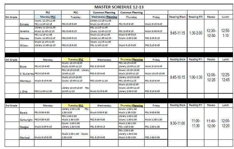 Elementary School Master Schedule Template Cortezcolorado with