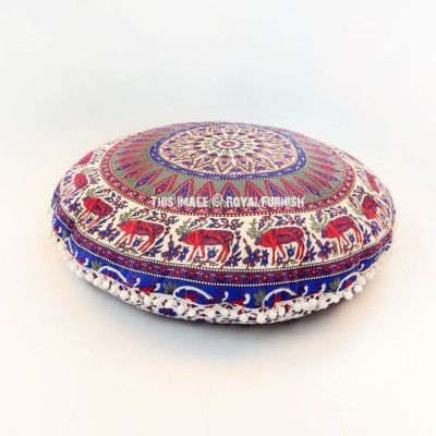 Blue & Red Multi Swamp Deer Mandala Round Floor Pillow Cover 32 Inch