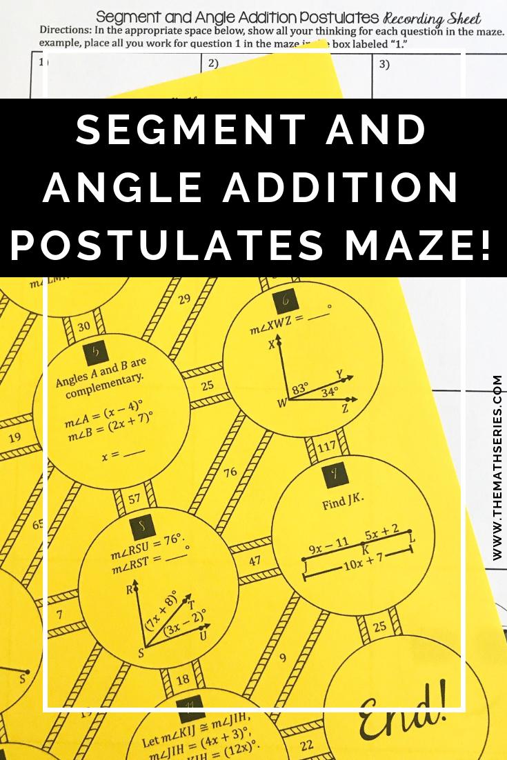 Segment and Angle Addition Postulates - Maze! | High School