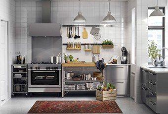 IKEA Una cucina in acciaio inossidabile. Gosto da mistura aço inox ...
