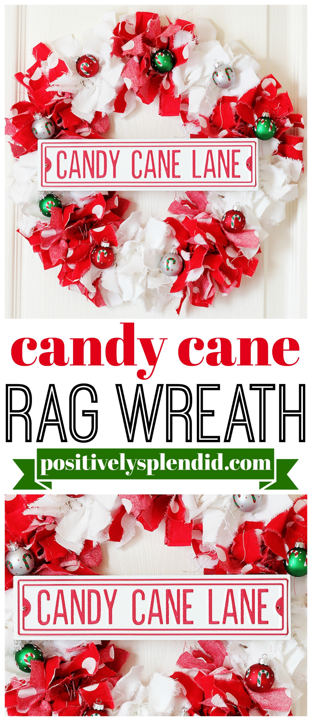 Photo of Candy Cane Christmas Rag Wreath – Make a wreath with scraps of fabric!