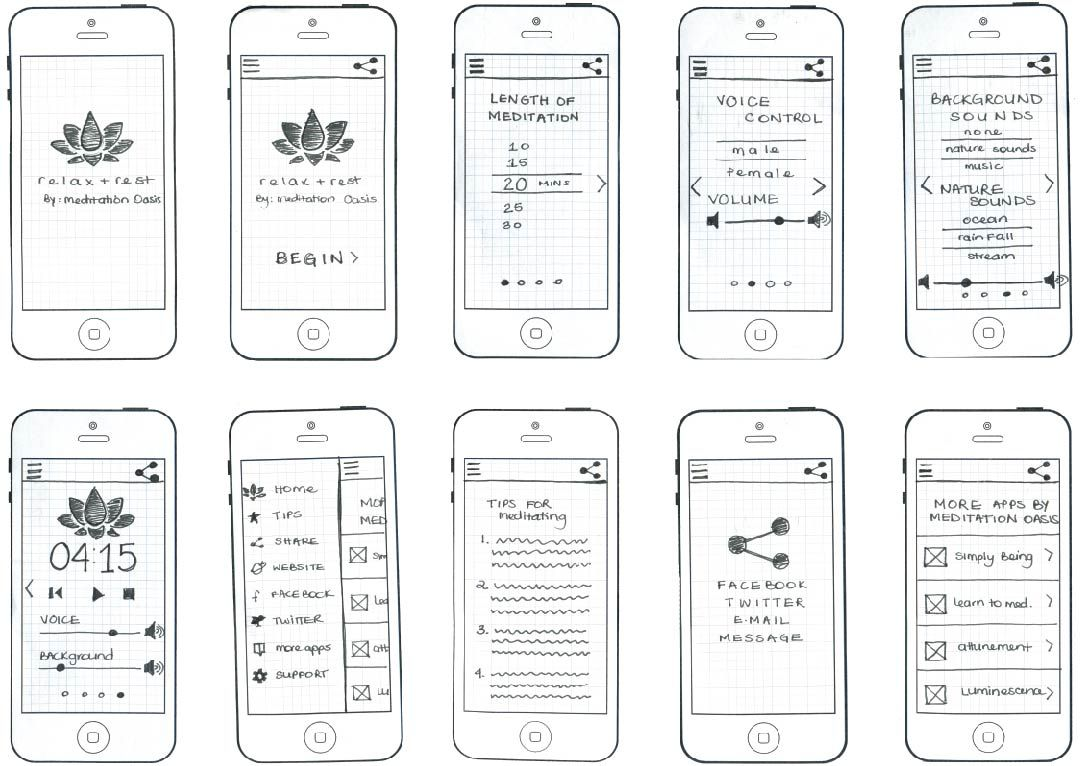Relax & Rest Paper Prototype Wireframe design, Mobile