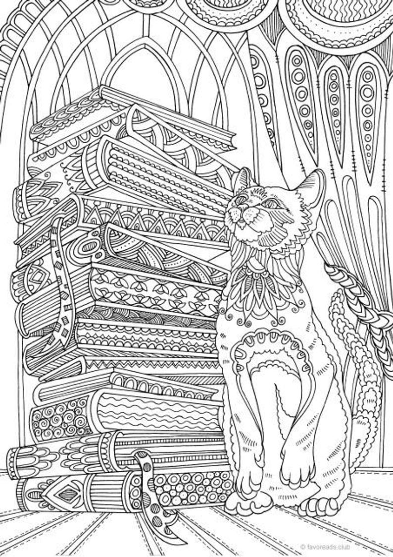 Cat And Books Printable Adult Coloring Page From Favoreads Coloring Book Pages For Adults And Kids Coloring Sheets Coloring Designs Cat Coloring Page Adult Coloring Pages Animal Coloring Pages