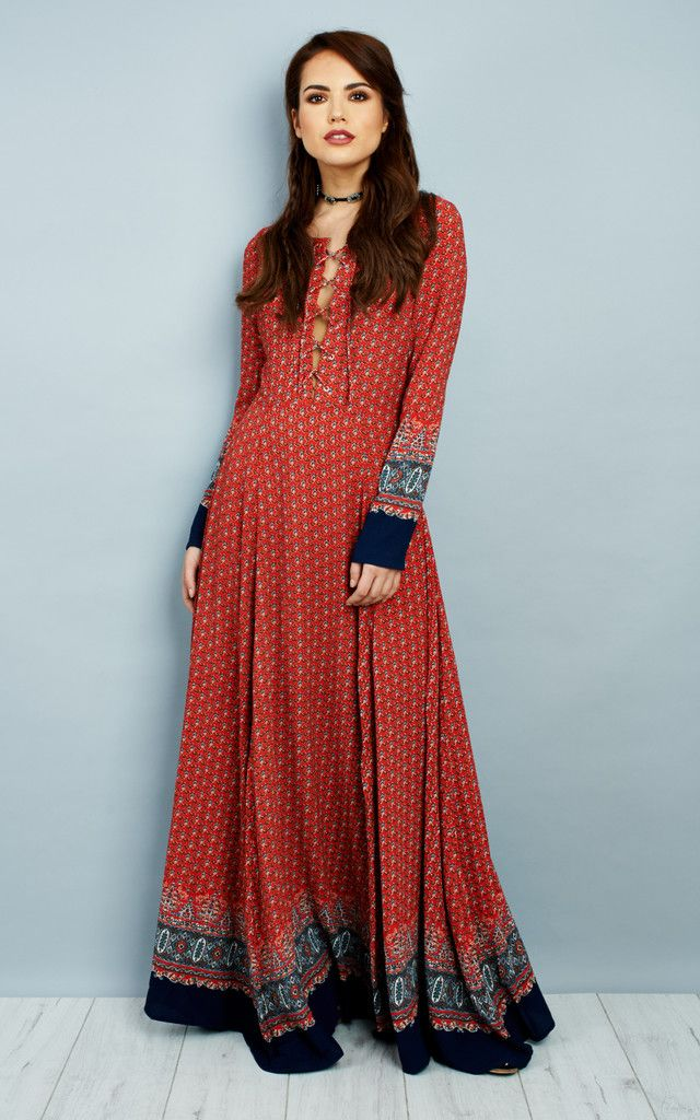 95bdc5068d Red Navy Border Long Sleeve Up Maxi Dress By Glamorous | Dress Me Up ...